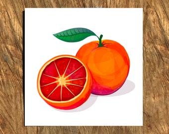 Blood Orange, Digital Watercolor Illustration, Print