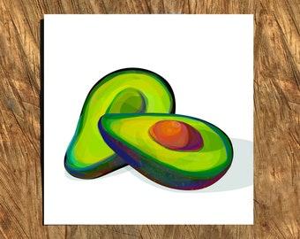 Avocado, Digital Watercolor Illustration, Print
