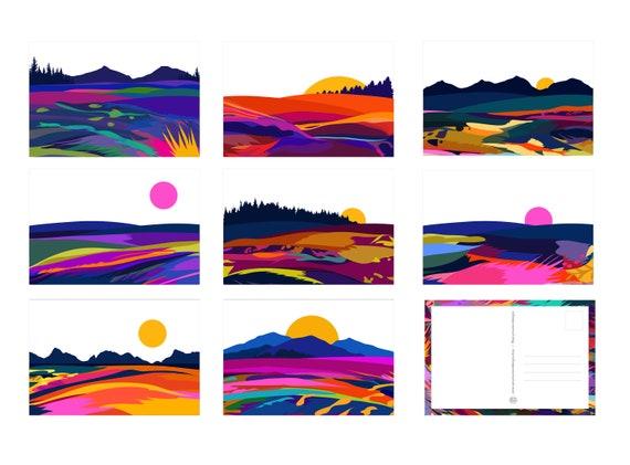 16 Assorted Landscape Postcard Set