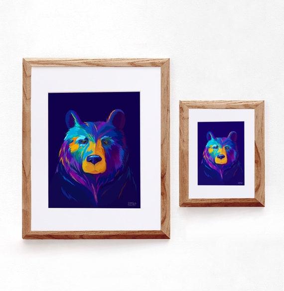 Multicolored Bear Print, Digital Illustration