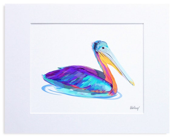 Blue Pelican, Digital Watercolor Illustration