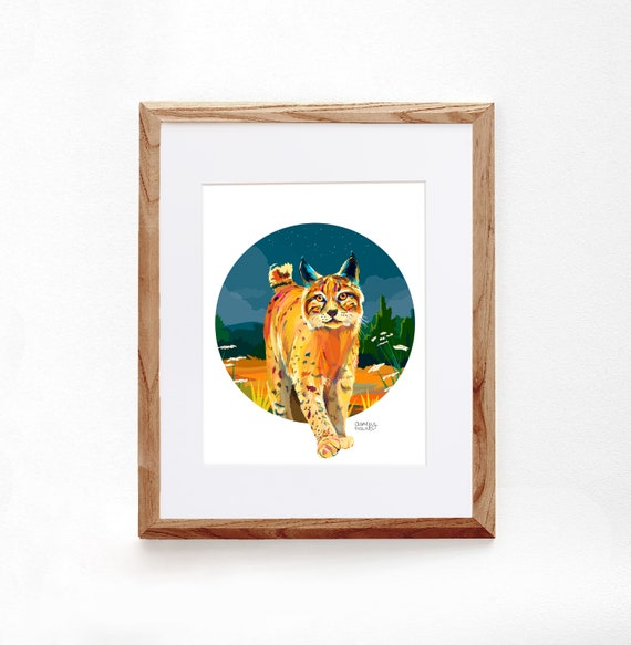 Bobcat, Digital Illustration, Colorful Print