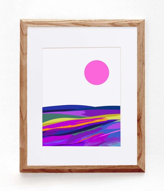 Abstract Farmland, Pink Sun, Colorful Landscape Print
