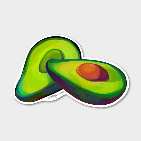 Illustrated Avocado Sticker