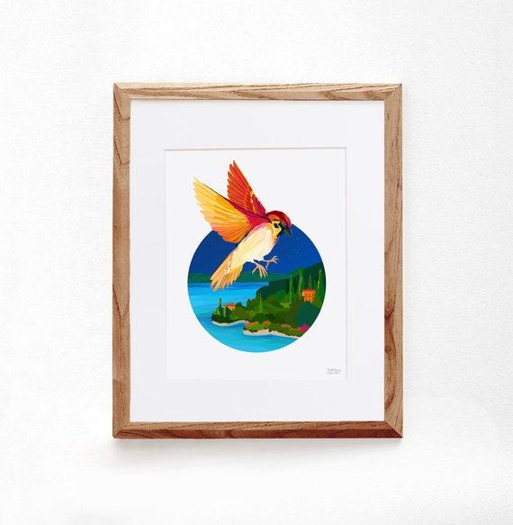 Sparrow, Digital Illustration, Colorful Print