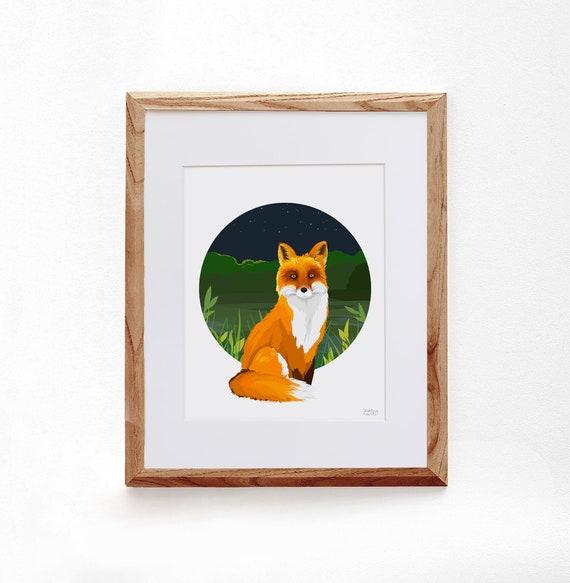 Fox, Digital Illustration, Colorful Print