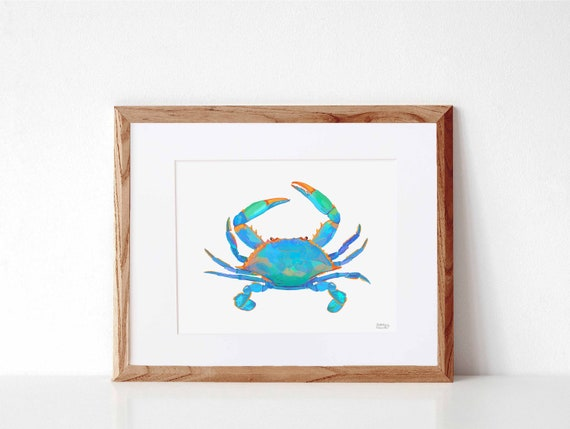 Blue Crab, Digital Watercolor Print, Illustration