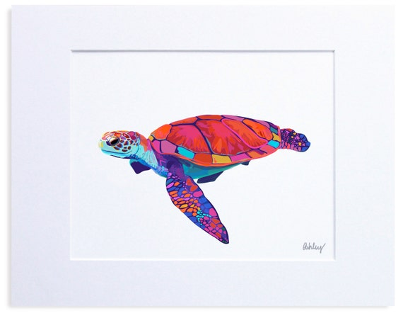 Multicolored Sea Turtle, Digital Watercolor Illustration
