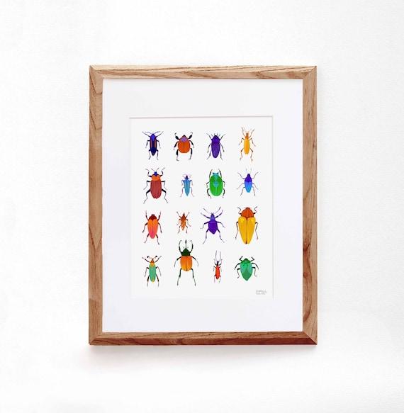 Multicolored Beetle, Digital Illustration, Colorful Print