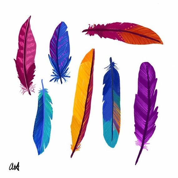 Multicolored Illustration, Digital Feather Print