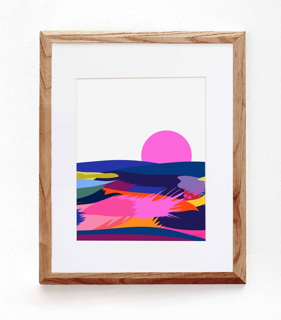 Abstract Landscape, Pink Sun, Colorful Print