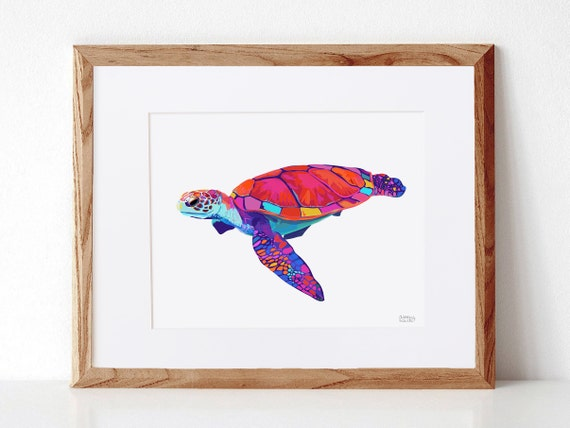 Sea Turtle, Digital Illustration, Colorful Print