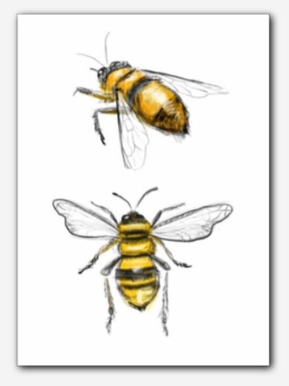 Multicolored Illustration, Digital Bumble Bee Print