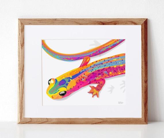 Salamander, Digital Illustration, Colorful Print