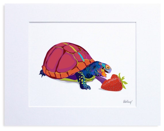 Multicolored Turtle, Digital Watercolor Illustration, Print