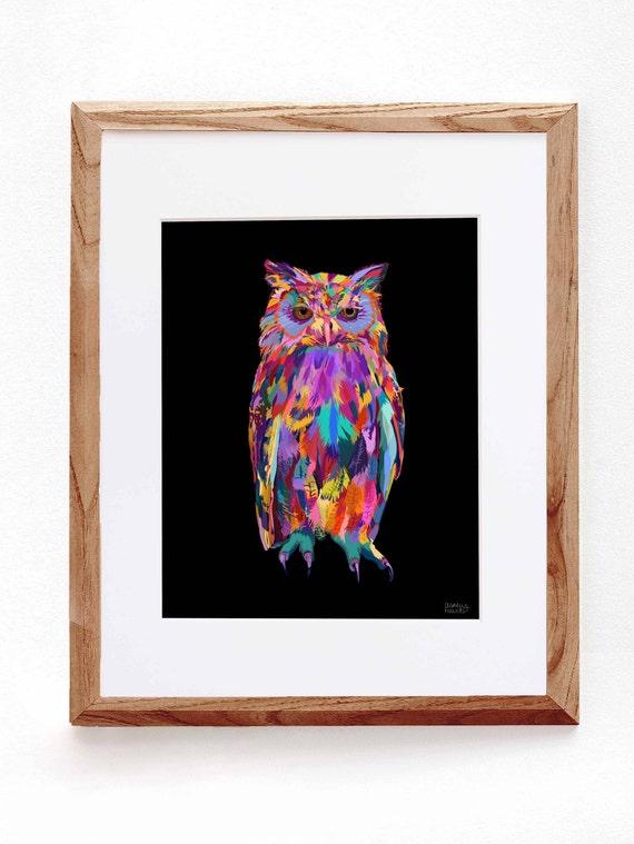 Night Owl, Bird, Digital Illustration, Colorful Print