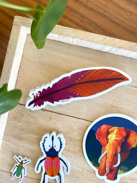 Feather Sticker, Illustrated