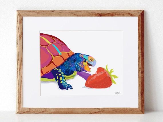 Turtle, Tortoise, Digital Illustration, Colorful Print