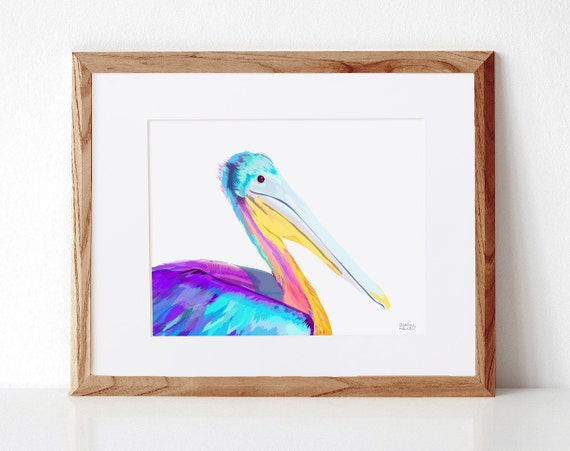 Blue Pelican, Digital Illustration, Colorful Print