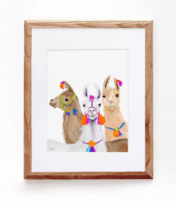 Curious Llamas, Digital Illustration, Colorful Print
