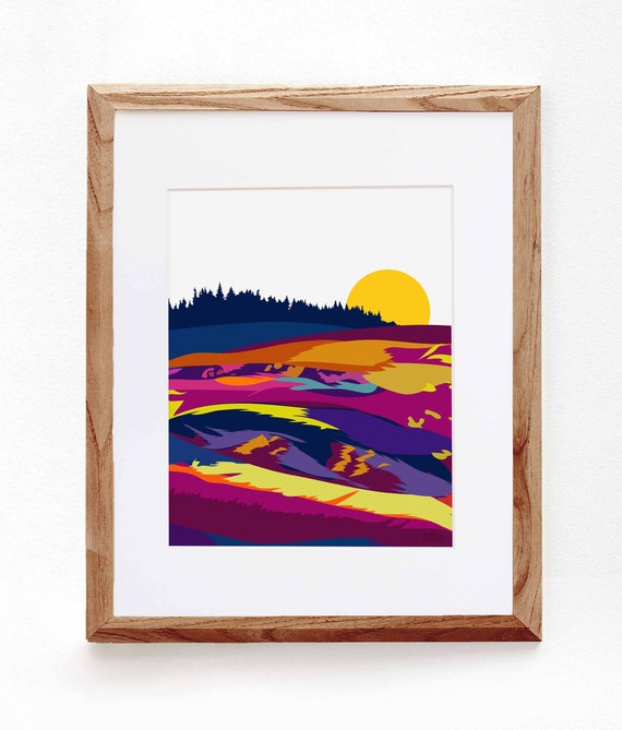 Abstract Meadow Landscape, Digital Illustration, Colorful Print