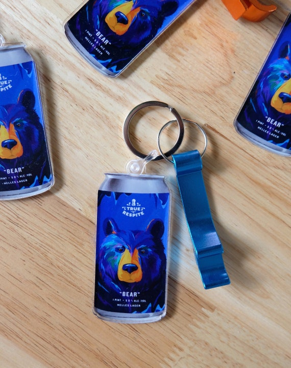 Bear beer keychain with bottle opener