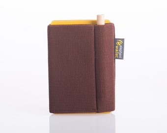 Business card holder, men's elastic wallet, modern wallet, slim wallet, minimalist wallet, thin wallet, brown wallet, P wallet,