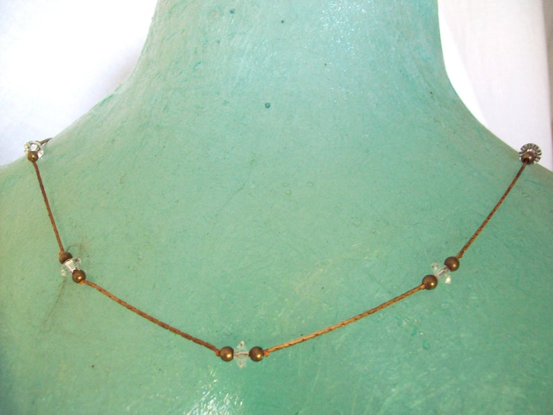 Necklace choker fine chain base metal alloy with bi-conic image 0