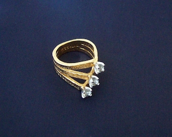 AMERICAN RING Co - Small three layer 18kt heavy gold electroplated ring set with three CZ stones