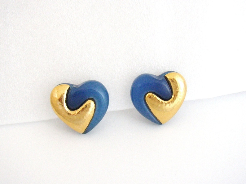 REVLON  Heart shaped clip on earrings blue resin and gilded image 0