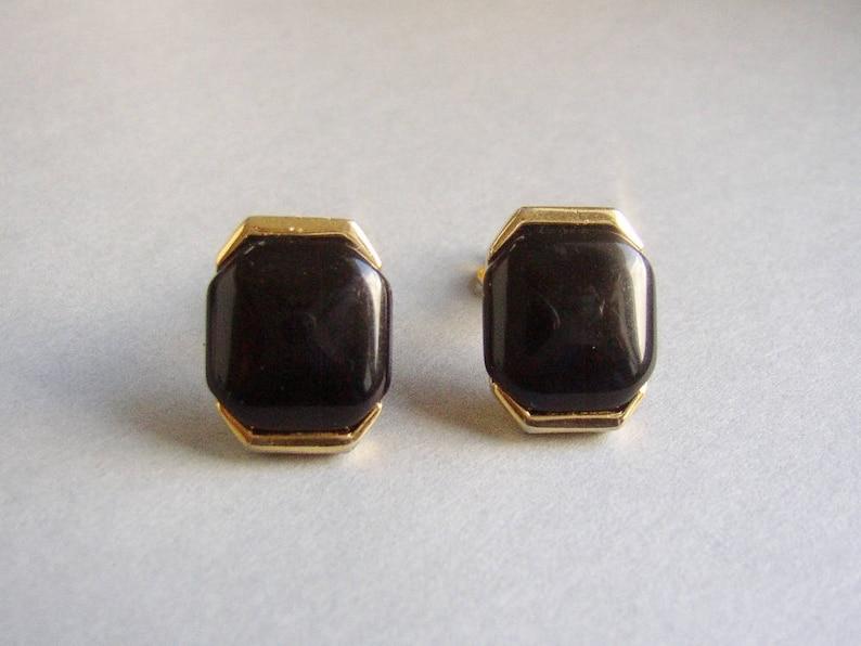 TRIFARI Crown  Hexagonal gold tone clip on earrings image 0