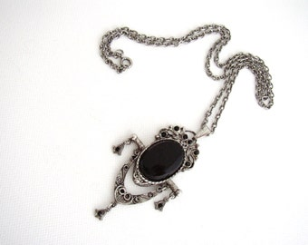 LJM - Silvertone necklace chain and spinner pendant Victorian Revival style