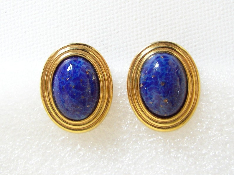 LANVIN  Oval earrings gilded metal set with art glass faux image 0