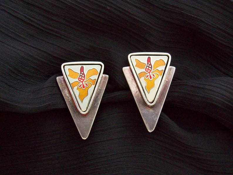 LAUREL BURCH  Triangular earrings with cloisonné enameled image 0