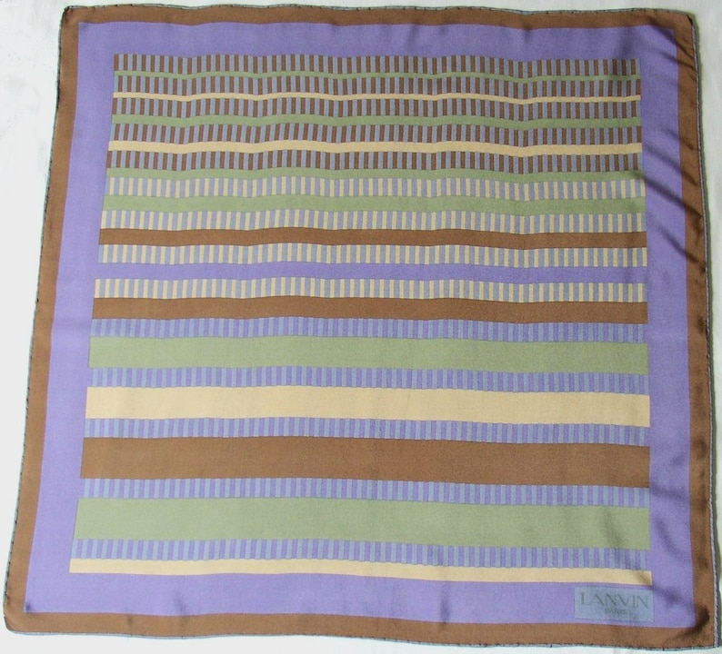 LANVIN  Silk hand rolled scarf striped graphic pattern mauve image 0