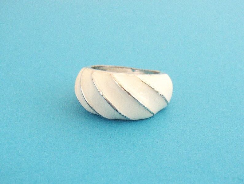 White enameled solid silver tone metal ring with diagonal image 0