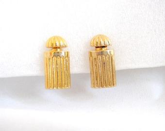 """BALENCIAGA - Earrings clip on perfume bottle """"Le Dix"""" gilded metal"""