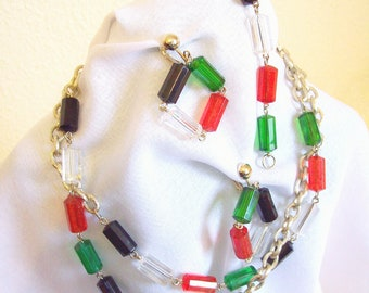 """SARAH COVENTRY – Set """"Vogue"""" full parure necklace, bracelet and clip on earrings 1970s"""