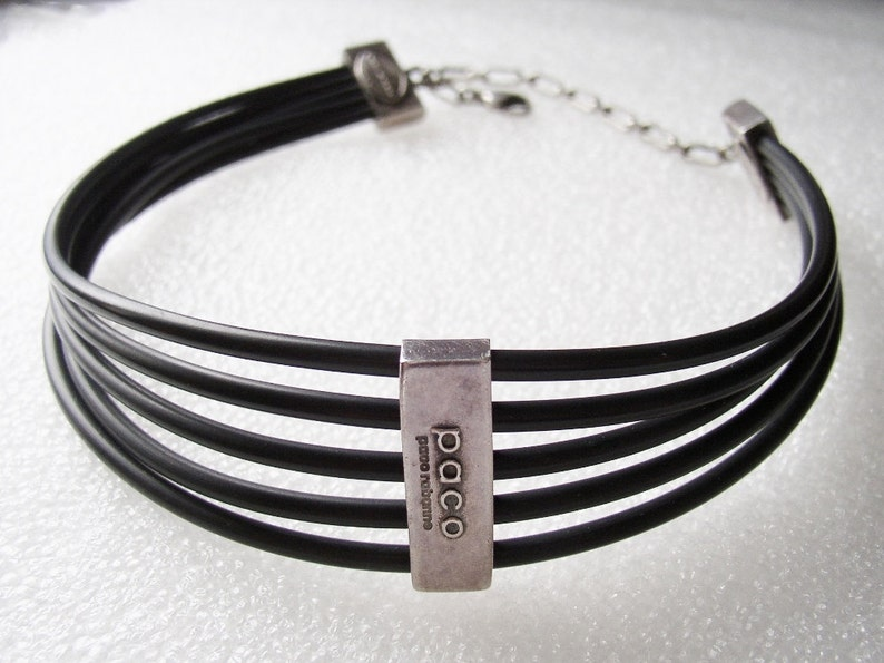 PACO RABANNE  Choker necklace rubber and antiqued silver tone image 0