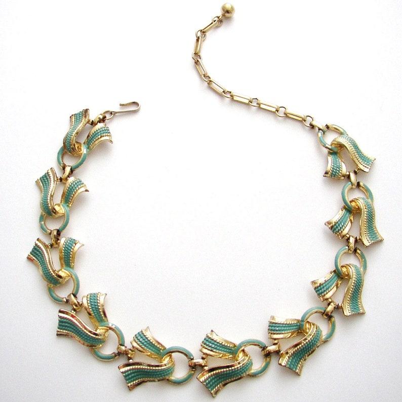 CORO  Necklace choker gilded base metal with turquoise enamel image 0