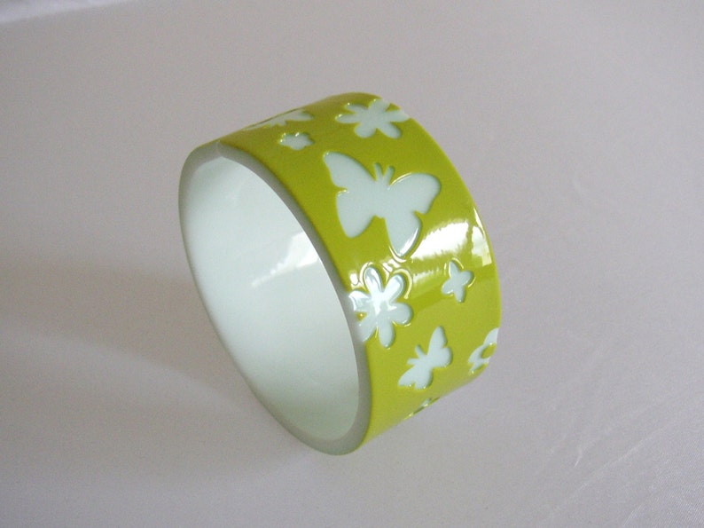 Lucite cuff bracelet pistache green and white to very image 0