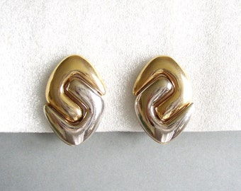 ANDRÉ COURRÈGES - Bold silver and gold tone clip on earrings minimalist style