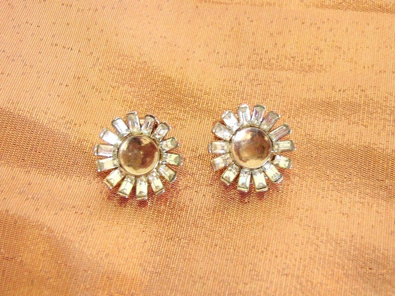 TRIFARI Crown \u2013 Retro round earrings gilded metal gold wash set with clear crystals Pat Pending