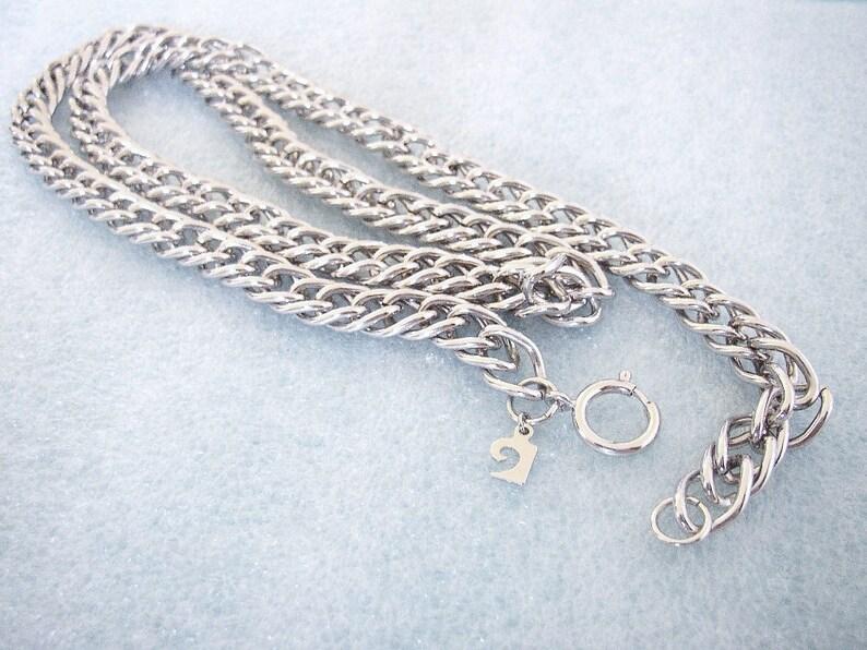 PIERRE CARDIN  Silver tone double link necklace chain Punk image 0