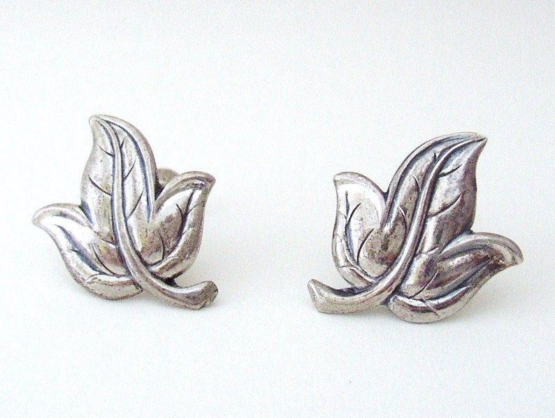 JEWEL ART  Mid Century sterling silver screw back earrings image 0