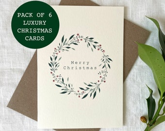 PACK OF 6 Luxury Berry Wreath Cards, Merry Christmas Cards Set, Christmas Gifts, Pack of Christmas Cards - Christmas Cards Pack