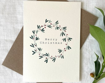 Luxury Mistletoe Wreath Card, Merry Christmas Card, Vintage Christmas Card, Mistletoe Card,  Simple Christmas Card, Elegant Christmas Card