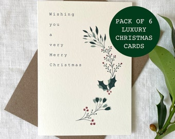 PACK OF 6 Luxury Christmas Foliage Cards, Merry Christmas Cards Pack, Christmas Gifts, Simple Christmas Cards Set - Worldwide Shipping