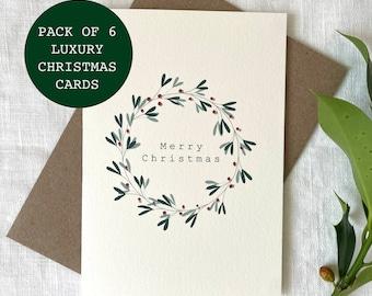 PACK OF 6 Luxury Mistletoe Wreath Card, Merry Christmas Card Pack, Christmas Gifts, Simple Christmas Card Set, Pack of Christmas cards