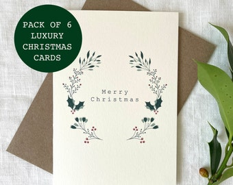 PACK OF 6 Luxury Holly Wreath Card, Merry Christmas Cards Pack, Christmas Gifts, Simple Christmas Cards Set - Worldwide Shipping